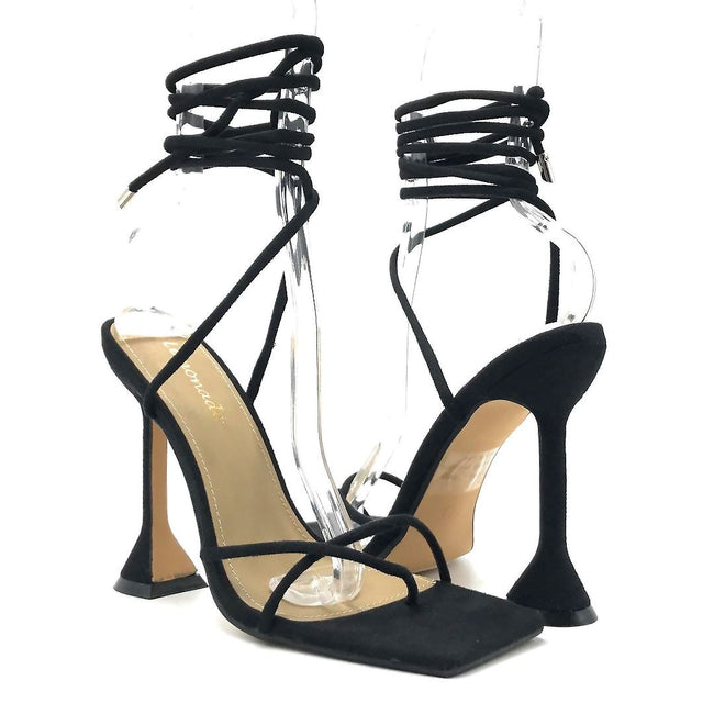 Lemonade Emily Black Color Heels Both Shoes together, Women Shoes