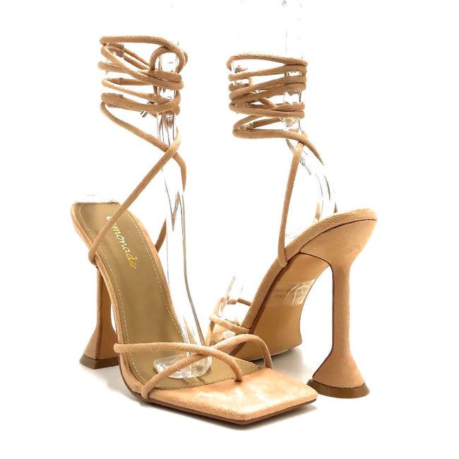 Lemonade Emily Nude Color Heels Both Shoes together, Women Shoes