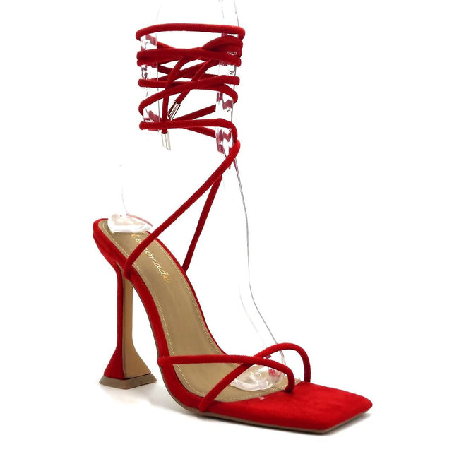 Lemonade Emily Red Color Heels Right Side View, Women Shoes