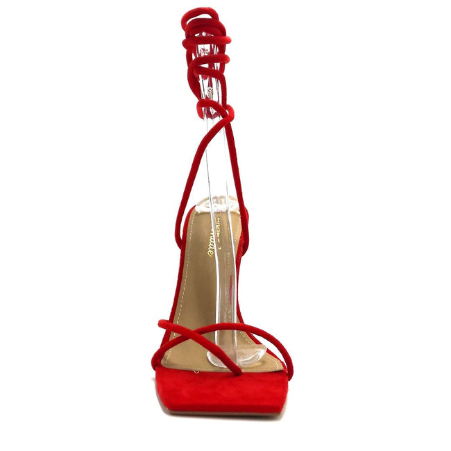 Lemonade Emily Red Color Heels Both Shoes together, Women Shoes
