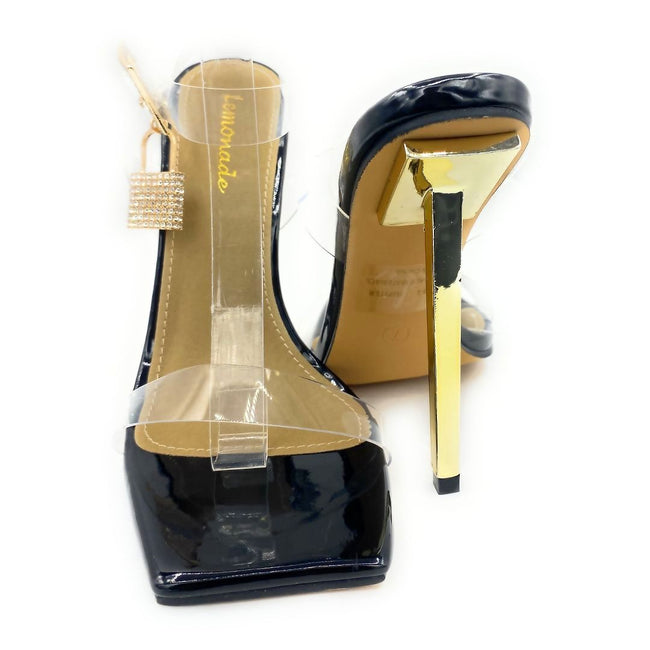 Lemonade Jupiter Black Color Heels Both Shoes together, Women Shoes