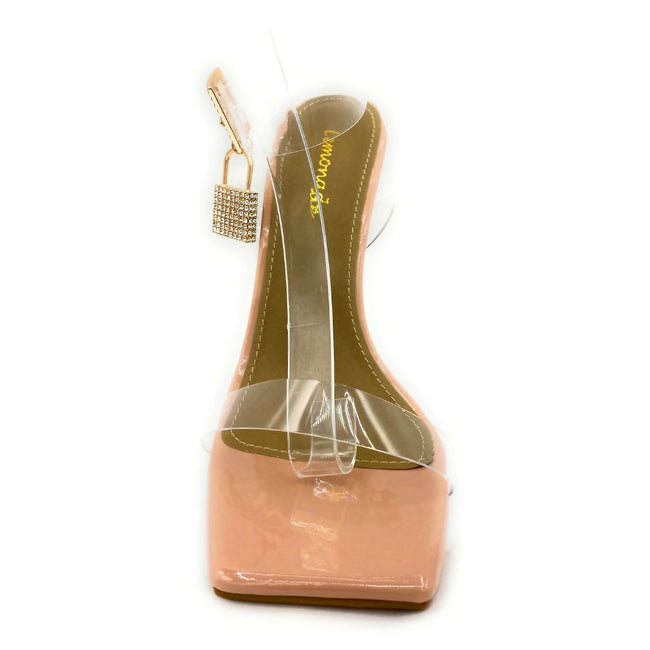 Lemonade Jupiter Nude Color Heels Front View, Women Shoes