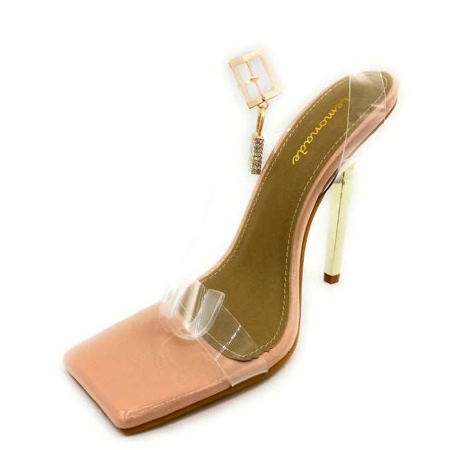 Lemonade Jupiter Nude Color Heels Left Side view, Women Shoes