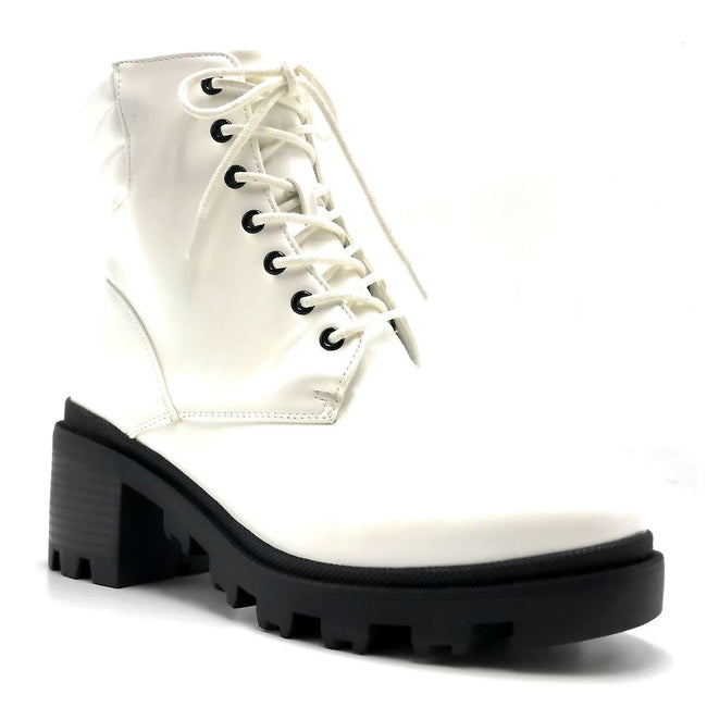 Liliana Benny-1 White Color Boots Right Side View, Women Shoes