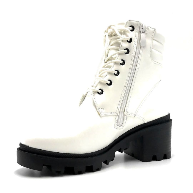 Liliana Benny-1 White Color Boots Left Side view, Women Shoes