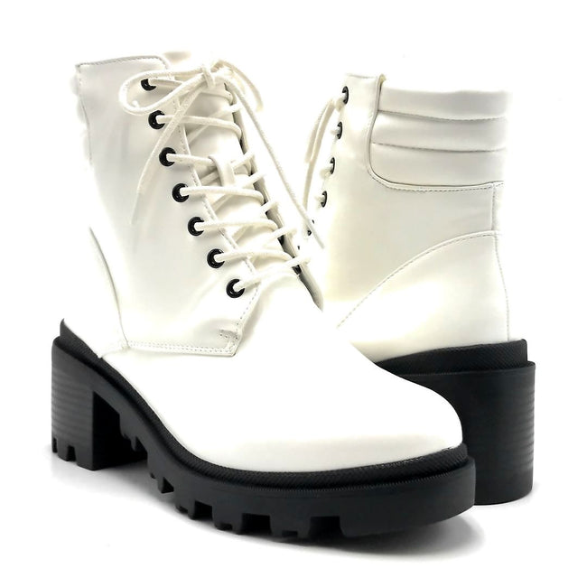 Liliana Benny-1 White Color Boots Both Shoes together, Women Shoes