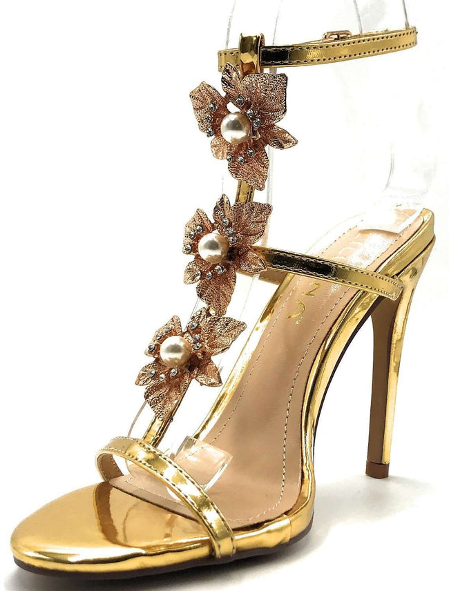 Liliana Golden-138 Gold Color Heel Shoes for Women