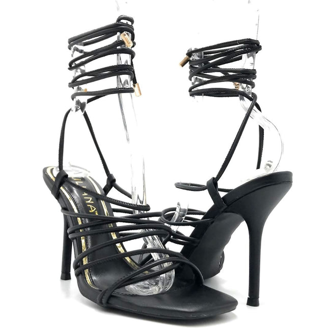 Liliana Iman-1 Black Color Heels Both Shoes together, Women Shoes