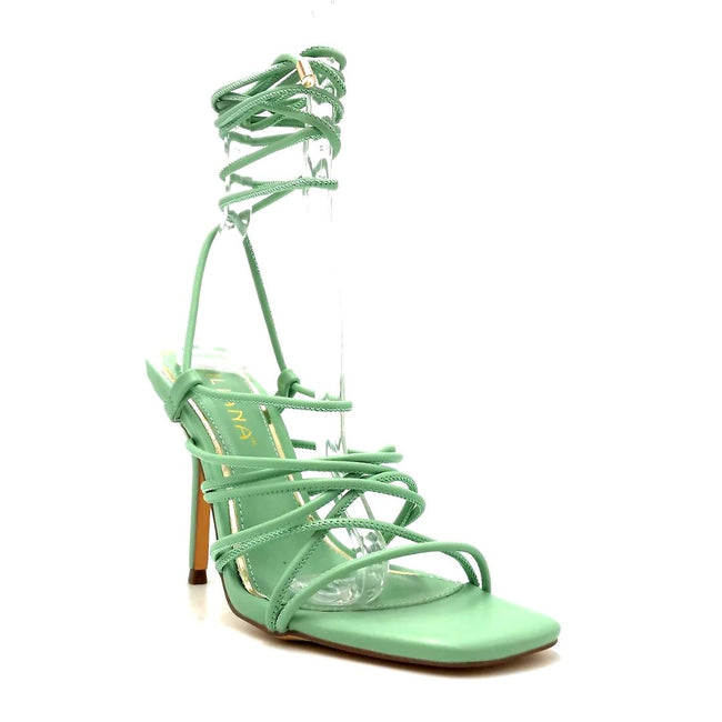 Liliana Iman-1 Mint Color Heels Right Side View, Women Shoes