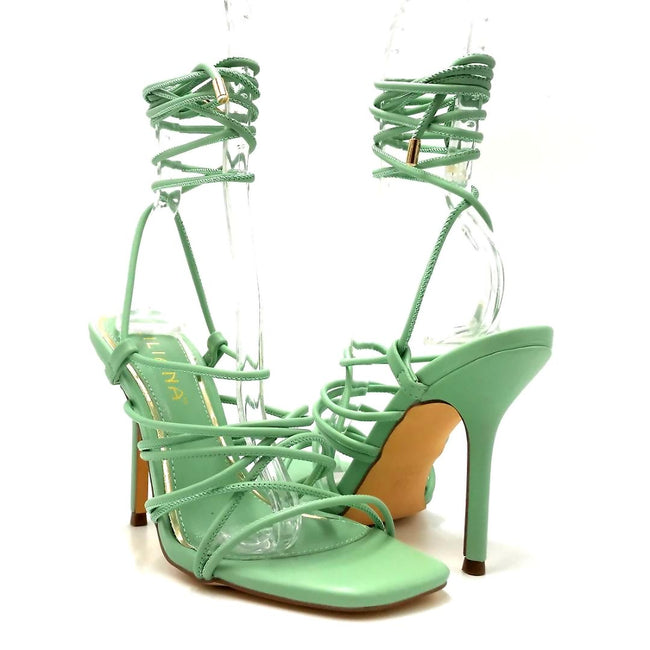 Liliana Iman-1 Mint Color Heels Both Shoes together, Women Shoes