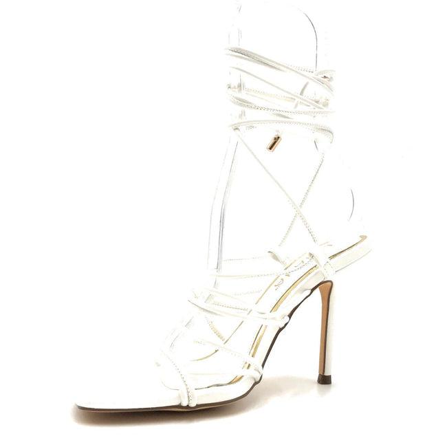 Liliana Iman-1 White Color Heels Left Side view, Women Shoes