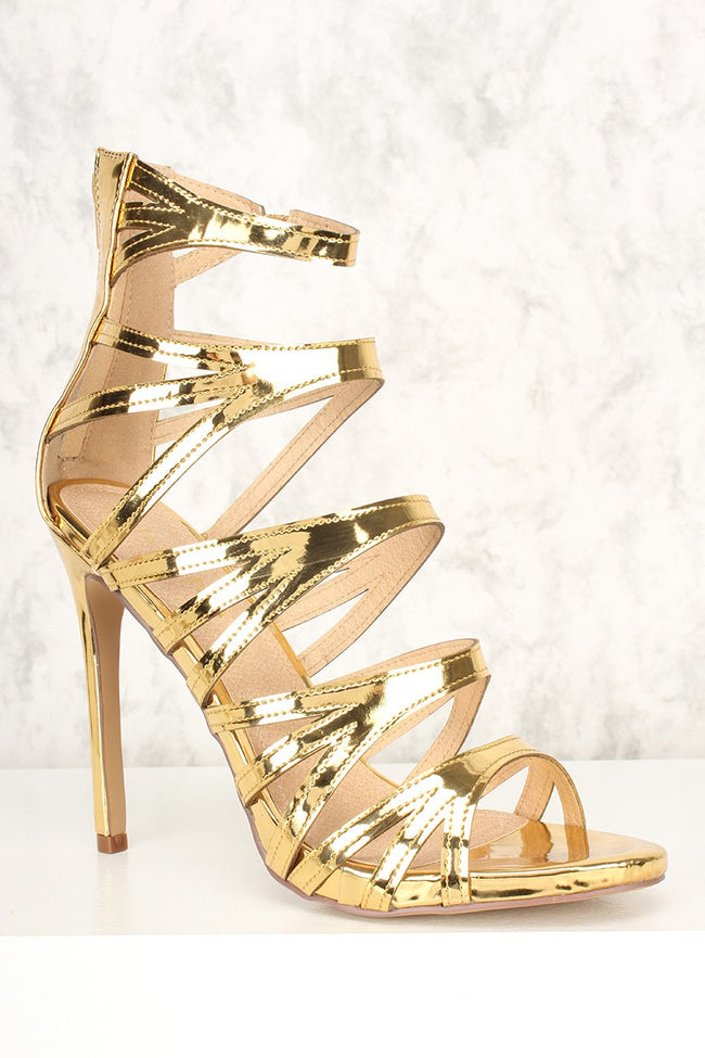 Liliana Jesse-206 Gold Color Heels Shoes for Women
