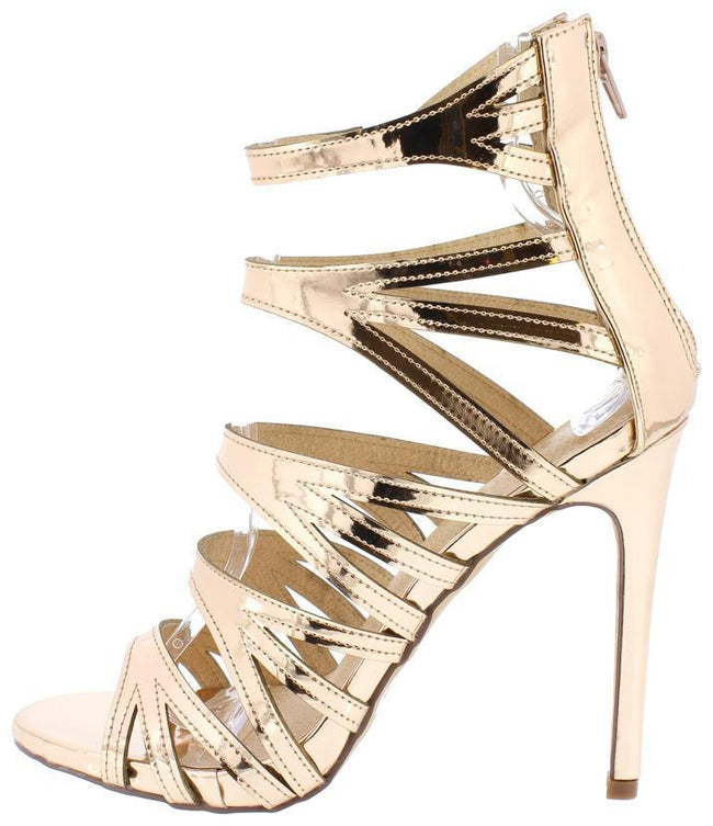 Liliana Jesse-206 Rose Gold Color Heels Shoes for Women