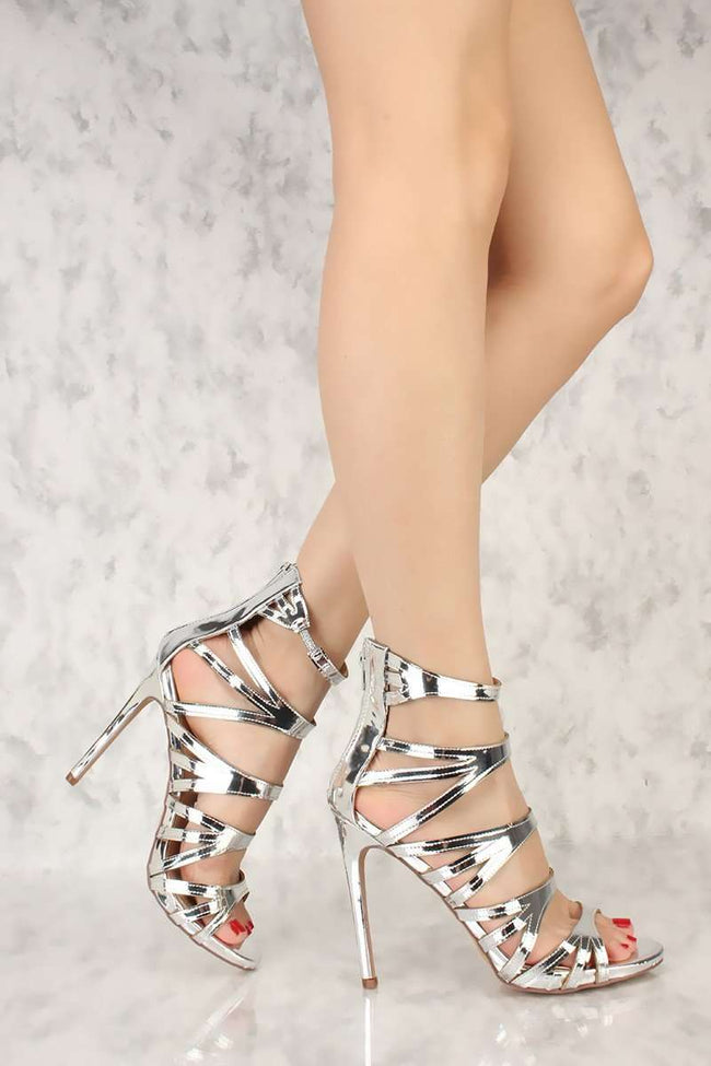Liliana Jesse-206 Silver Color Heels Shoes for Women