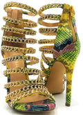 Liliana Jesse-229 Multi_Snake Color Heel Shoes for Women