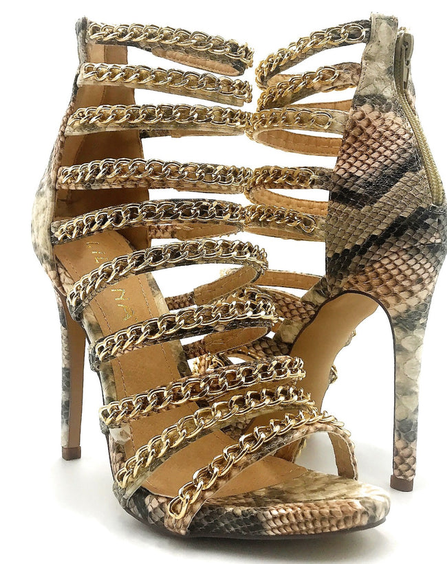 Liliana Jesse-229 Snake Color Heel Shoes for Women