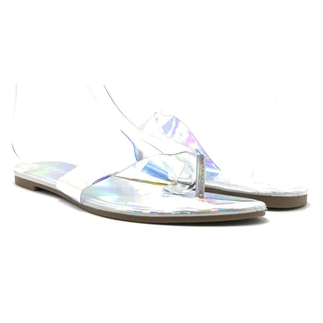 Liliana Rey-2 Hologram Color Flat-Sandals Shoes for Women
