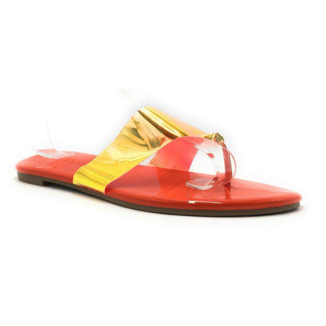 Liliana Rey-2 Orange Color Flat-Sandals Shoes for Women