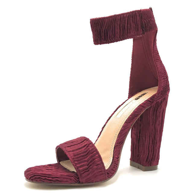 Liliana Sage-124 Wine Color Heels Shoes for Women