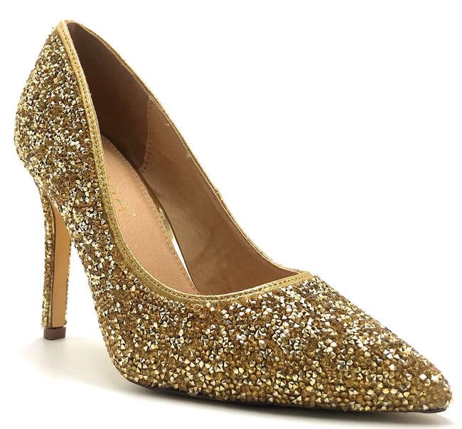 Liliana Salina-33A Gold Color Pumps Shoes for Women