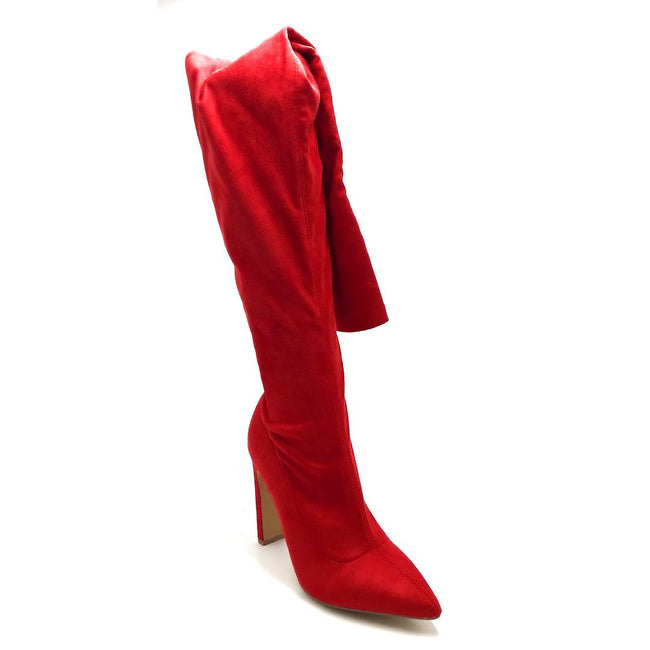 Liliana Splice-1 Red Color Boots Right Side View, Women Shoes