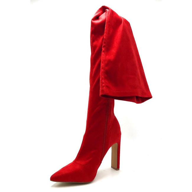 Liliana Splice-1 Red Color Boots Left Side view, Women Shoes