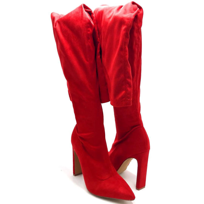 Liliana Splice-1 Red Color Boots Both Shoes together, Women Shoes
