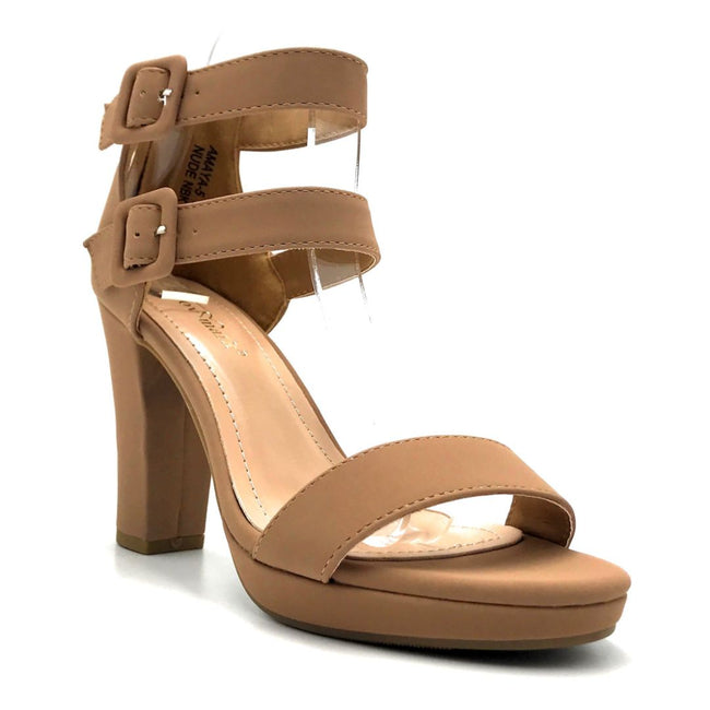 Lov Mark Amaya-5 Nude Nub Color Heels Right Side View, Women Shoes