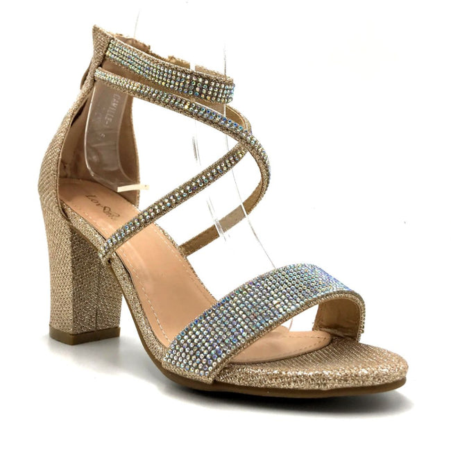 Lov Mark Camille-1 Champagne Mesh Color Heels Right Side View, Women Shoes