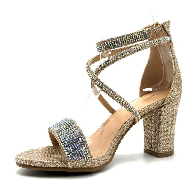 Lov Mark Camille-1 Champagne Mesh Color Heels Left Side view, Women Shoes