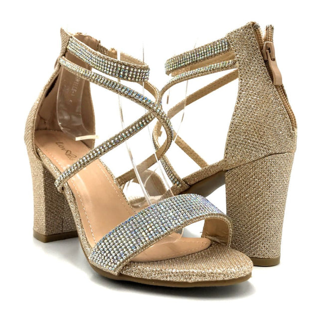 Lov Mark Camille-1 Champagne Mesh Color Heels Both Shoes together, Women Shoes