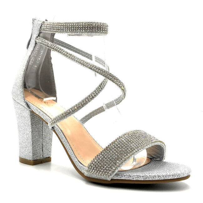 Lov Mark Camille-1 Silver Mesh Color Heels Right Side View, Women Shoes