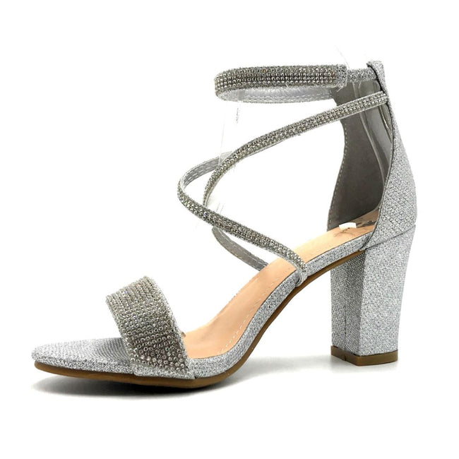 Lov Mark Camille-1 Silver Mesh Color Heels Left Side view, Women Shoes