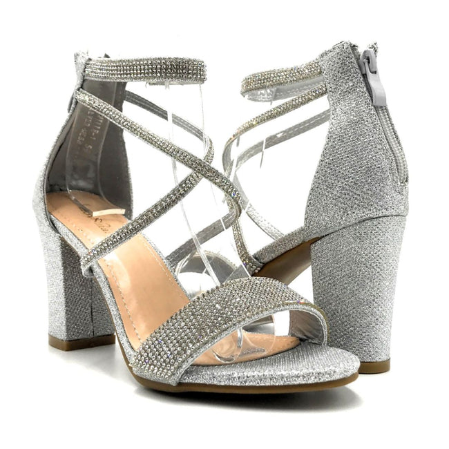 Lov Mark Camille-1 Silver Mesh Color Heels Both Shoes together, Women Shoes