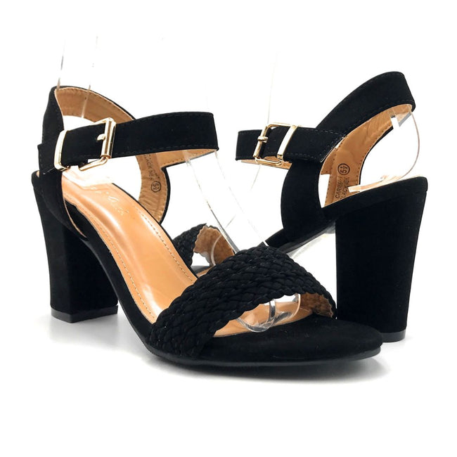 Lov Mark Carrisa-1 Black NBK Color Heels Both Shoes together, Women Shoes