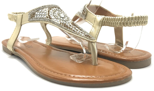 Lucita PPP-001 Gold Color Flat-Sandals Shoes for Women