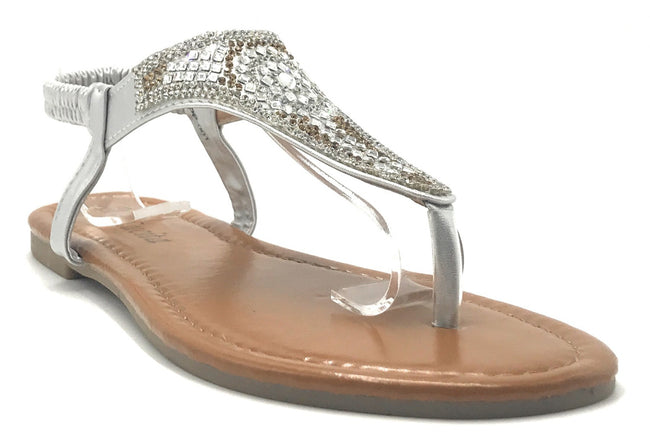 Lucita PPP-001 Silver Color Flat-Sandals Shoes for Women