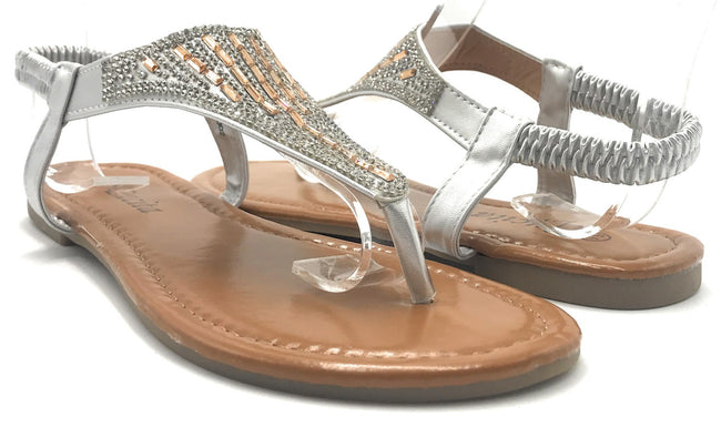 Lucita PPP-002 Silver Color Flat-Sandals Shoes for Women