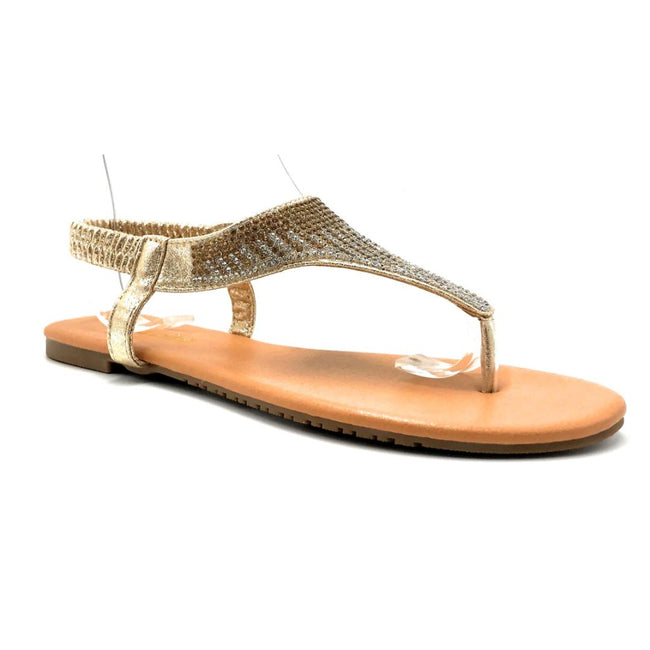 Lucita Pecko-1708 Gold Color Flat-Sandals Right Side View, Women Shoes
