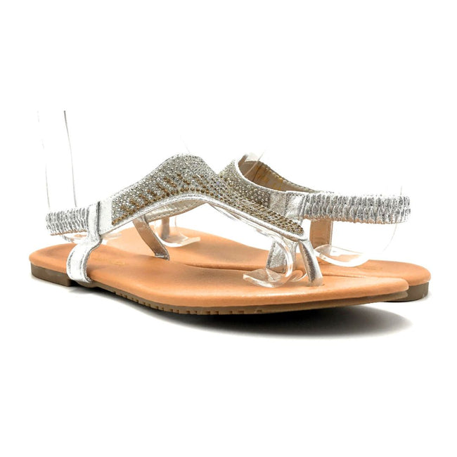 Lucita Pecko-1708 Silver Color Flat-Sandals Both Shoes together, Women Shoes