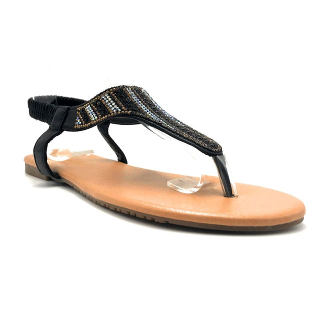 Lucita Pecko-1916 Black Color Flat-Sandals Right Side View, Women Shoes