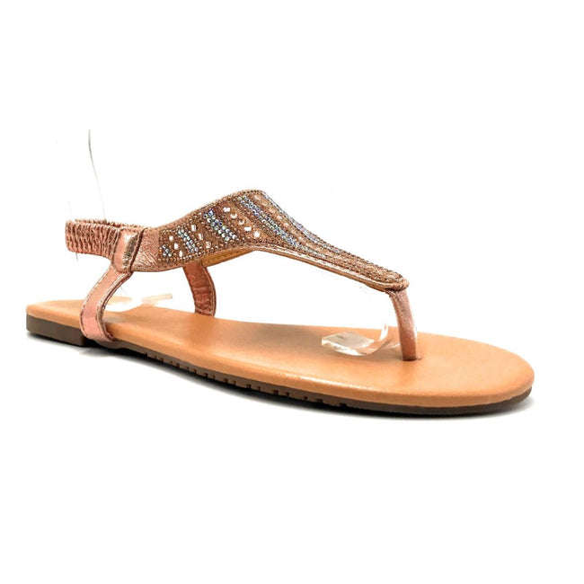 Lucita Pecko-1916 Champagne Color Flat-Sandals Right Side View, Women Shoes