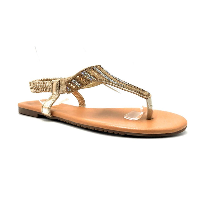 Lucita Pecko-1916 Gold Color Flat-Sandals Right Side View, Women Shoes