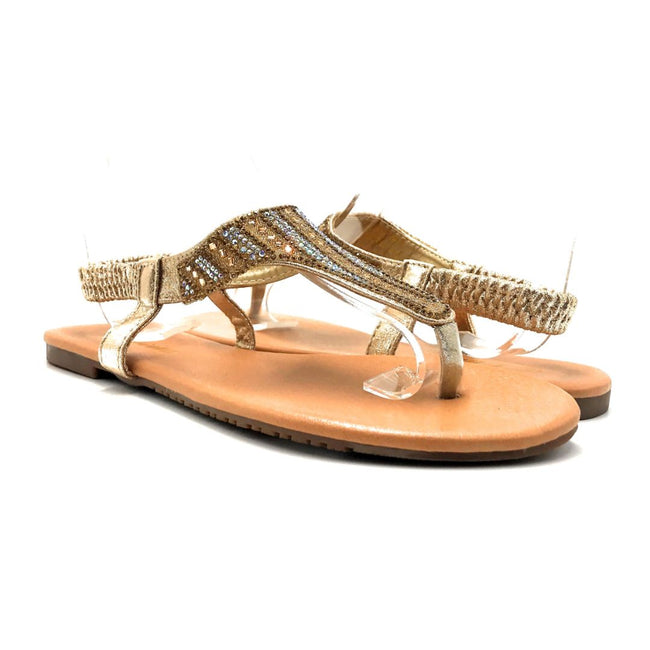 Lucita Pecko-1916 Gold Color Flat-Sandals Both Shoes together, Women Shoes