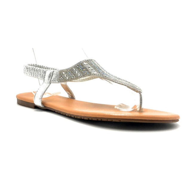 Lucita Pecko-1916 Silver Color Flat-Sandals Right Side View, Women Shoes