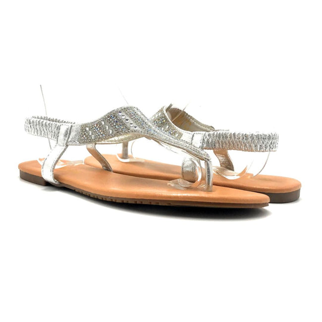 Lucita Pecko-1916 Silver Color Flat-Sandals Both Shoes together, Women Shoes