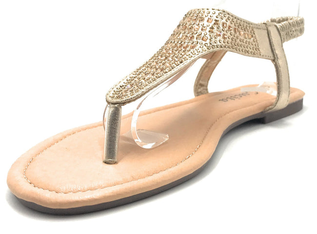 Lucita Peso-8 Light Gold Color Flat-Sandals Shoes for Women