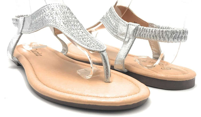 Lucita Peso-8 Silver Color Flat-Sandals Shoes for Women