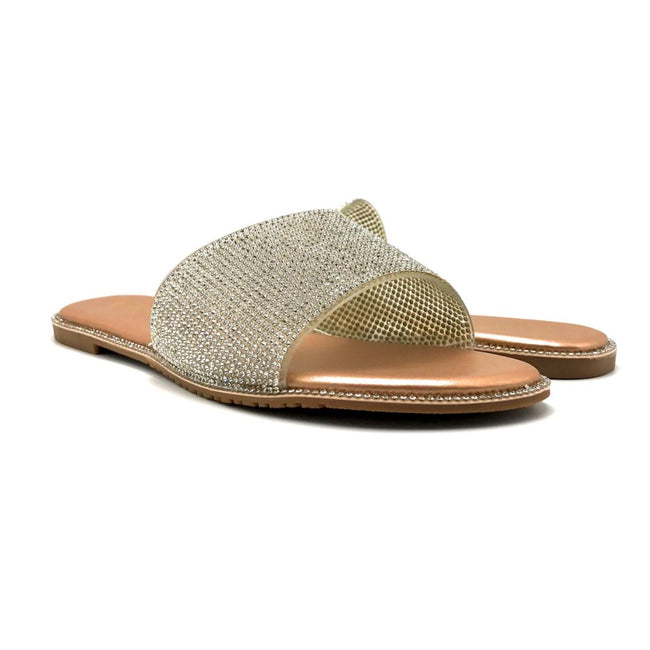 Lucita Sarah-001 Champagne Color Flat-Sandals Both Shoes together, Women Shoes