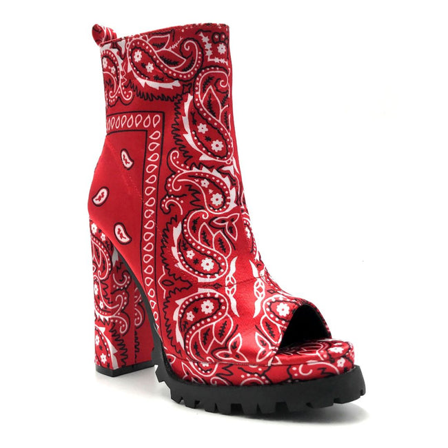 Mata Shoes Bardi Red Bandana Color Heels Right Side View, Women Shoes